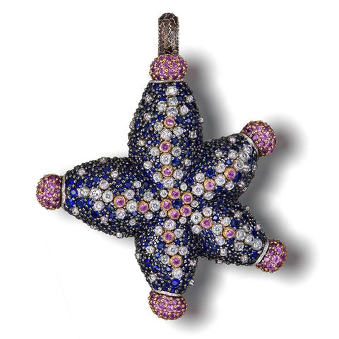 DIAMOND, BLUE AND PINK SAPPHIRE STARFISH PENDANT NECKLACE IN ROSE AND WHITE GOLD