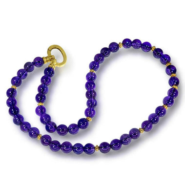 Gold Royal Amethyst Bead Necklace