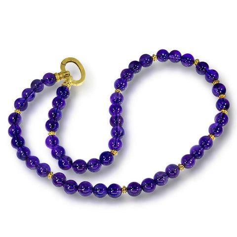AMETHYST BEAD NECKLACE IN YELLOW GOLD