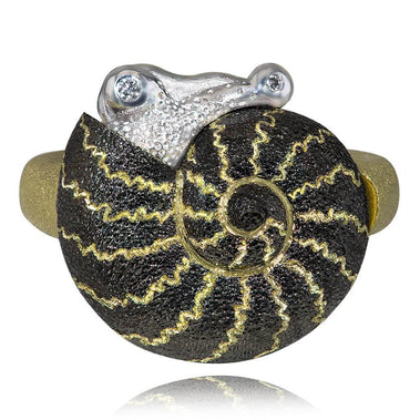 Gold Little Snail Ring with White Diamonds