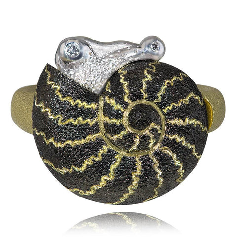 DIAMOND AND GOLD LITTLE SNAIL RING