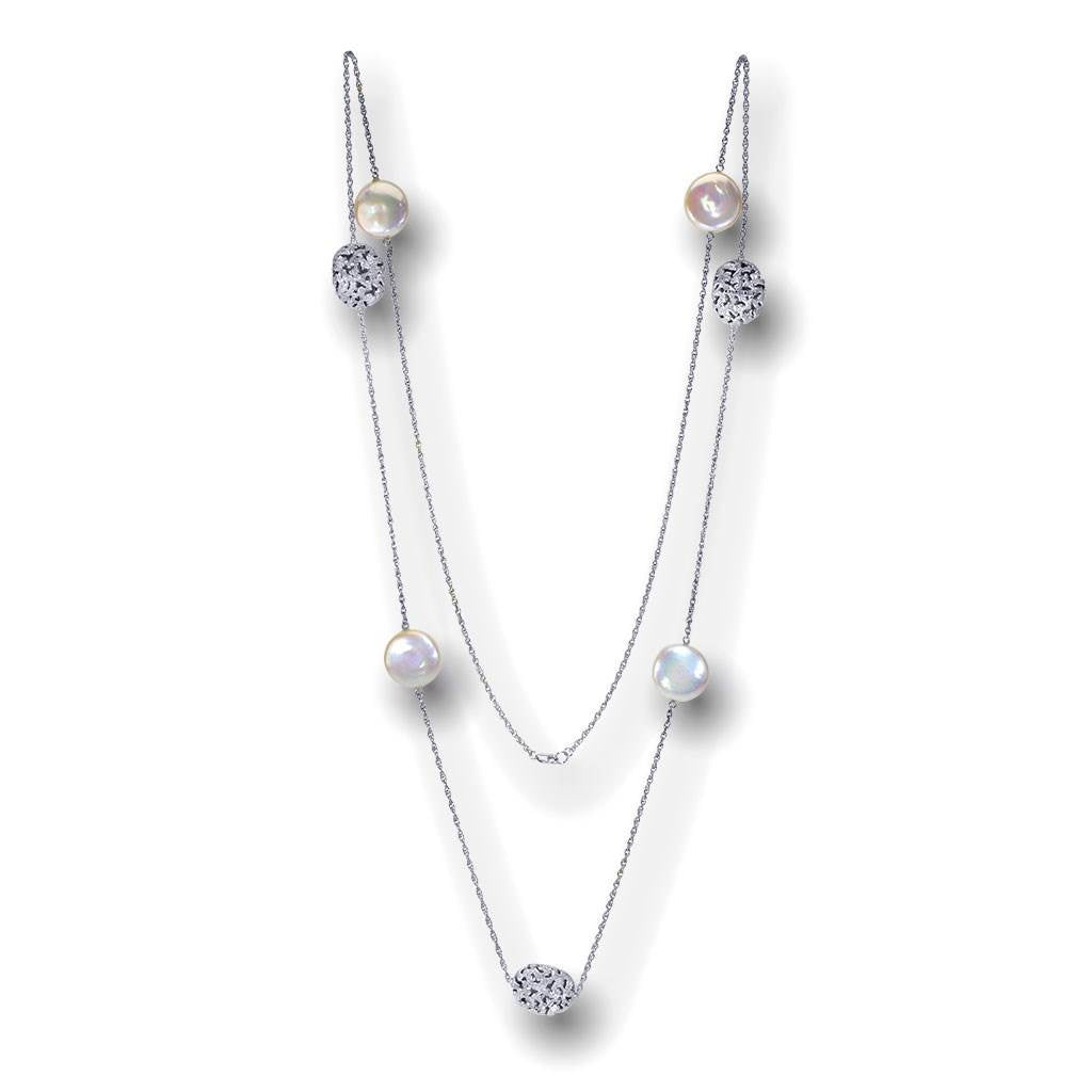 Pearl Moneta Necklace in 14 Karat White Gold