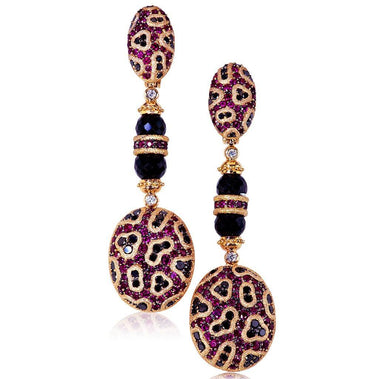 Ruby And Diamond Rose Gold Fine Lace Drop Earrings