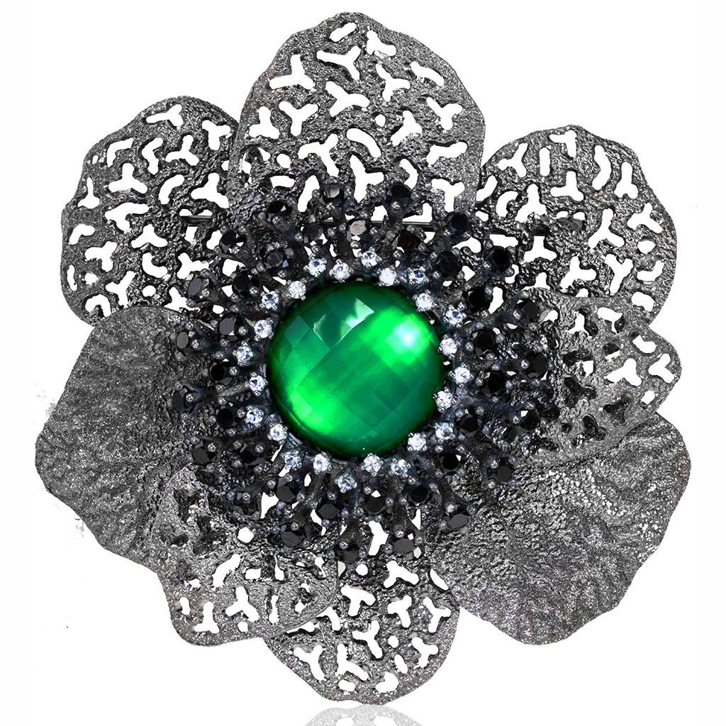 Sterling Silver Coronaria Brooch Pendant With Green Agate Spinel Topaz