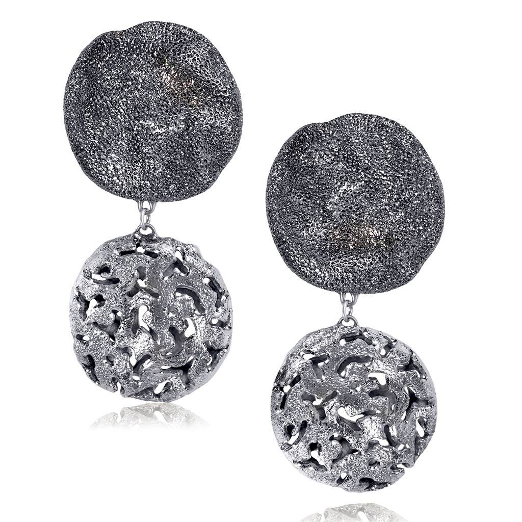 Sterling Silver and Platinum Moneta Earrings