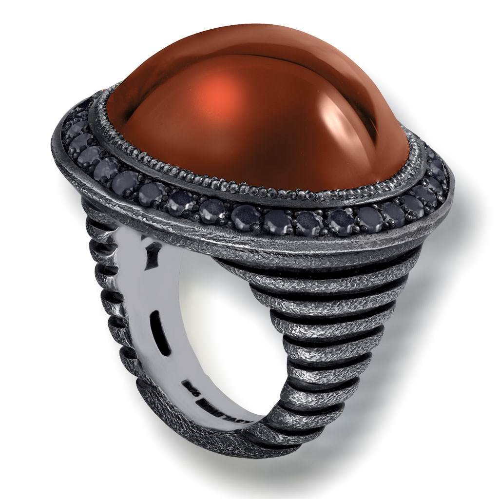 Silver Symbolica Ring with Carnelian & Black Spinel
