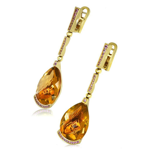 HONEY CITRINE AND PINK SAPPHIRES YELLOW GOLD SWAN DROP EARRINGS