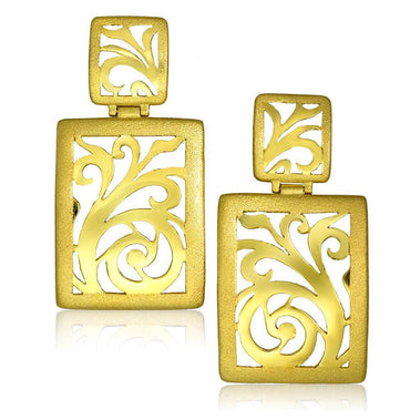 Gold Ornament Contrast Texture Drop Earrings