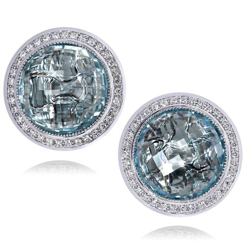 BLUE TOPAZ AND DIAMONDS GOLD SYMBOLICA EARRINGS
