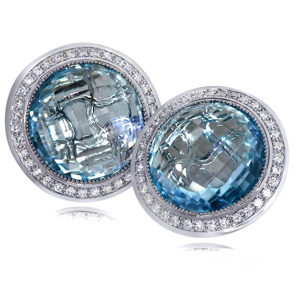 Gold Symbolica Earrings with Blue Topaz And Diamonds