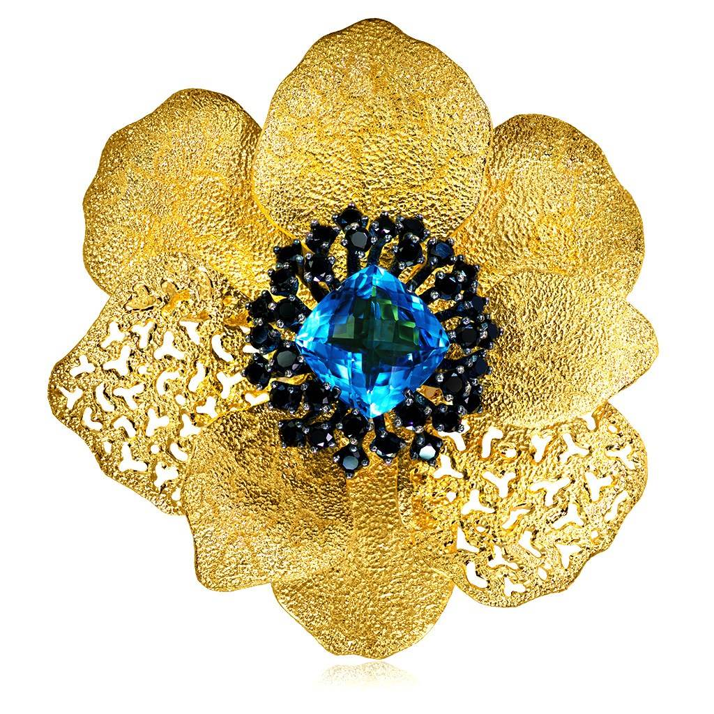 Blue Topaz Spinel Sterling Silver Gold Coronaria Brooch Pendant