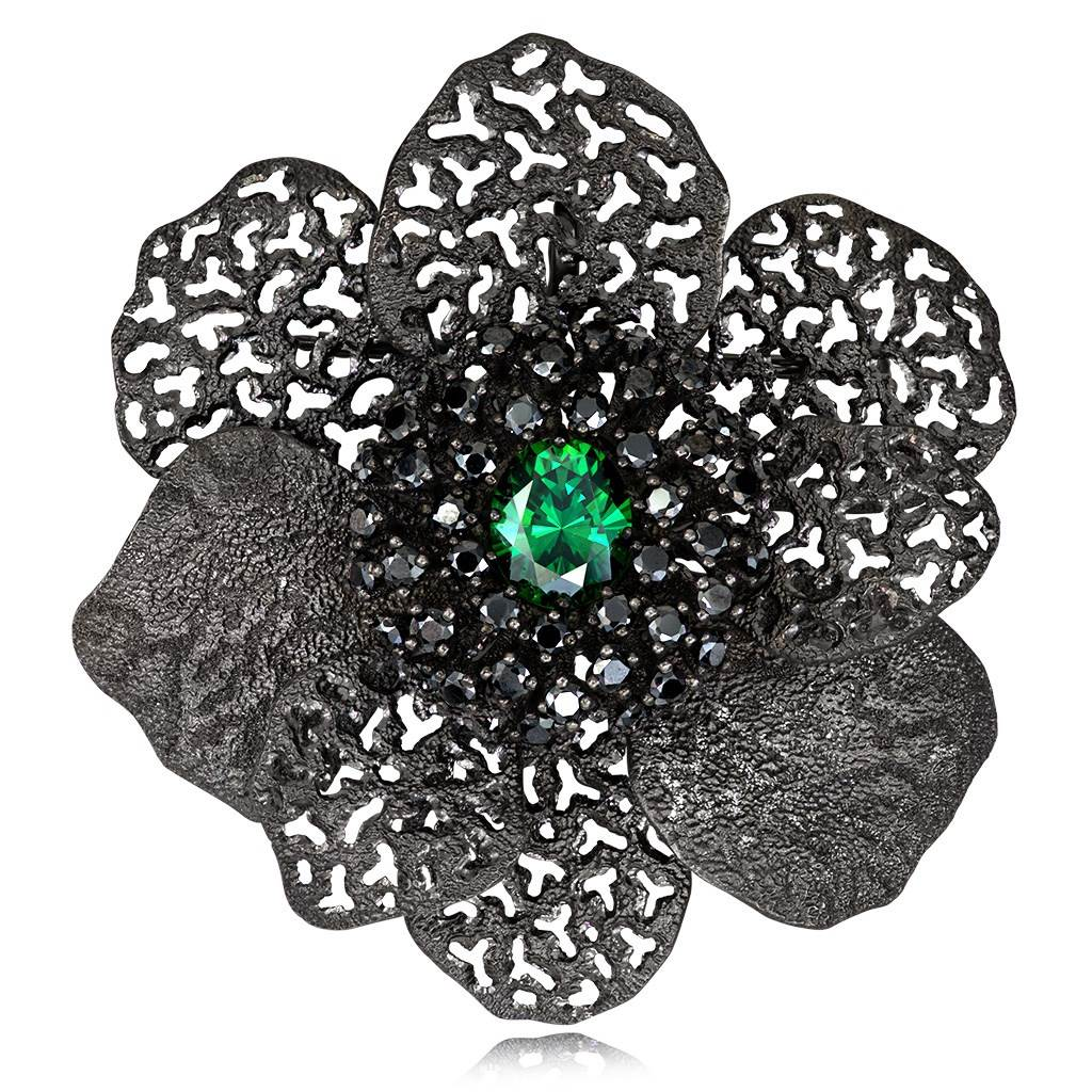 Silver Coronaria Brooch/Pendant with Green Oval Crystal