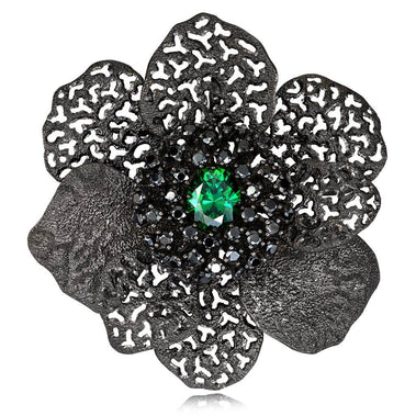 Swarovski Green Crystal And Black Spinel Coronaria Brooch Pendant In Dark Silver
