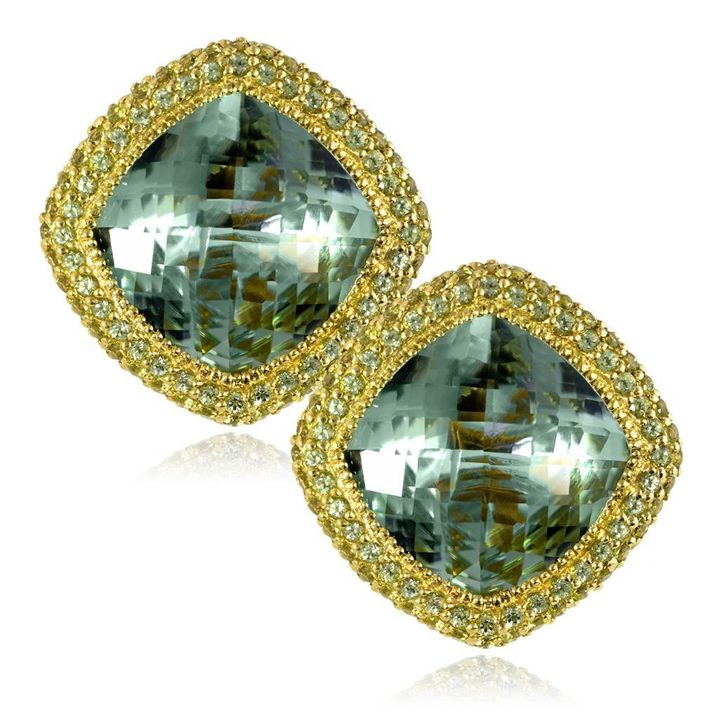 Gold Royal Earrings with Green Amethyst & Peridot