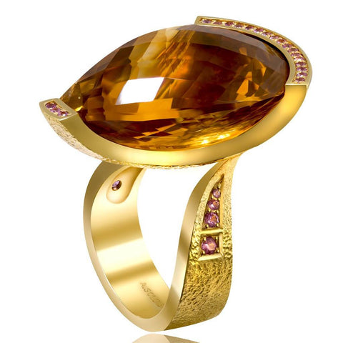 HONEY CITRINE AND PINK SAPPHIRES YELLOW GOLD SWAN RING