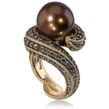 Rose Gold Twist Ring With Chocolate South Sea Pearl And Cognac Diamonds