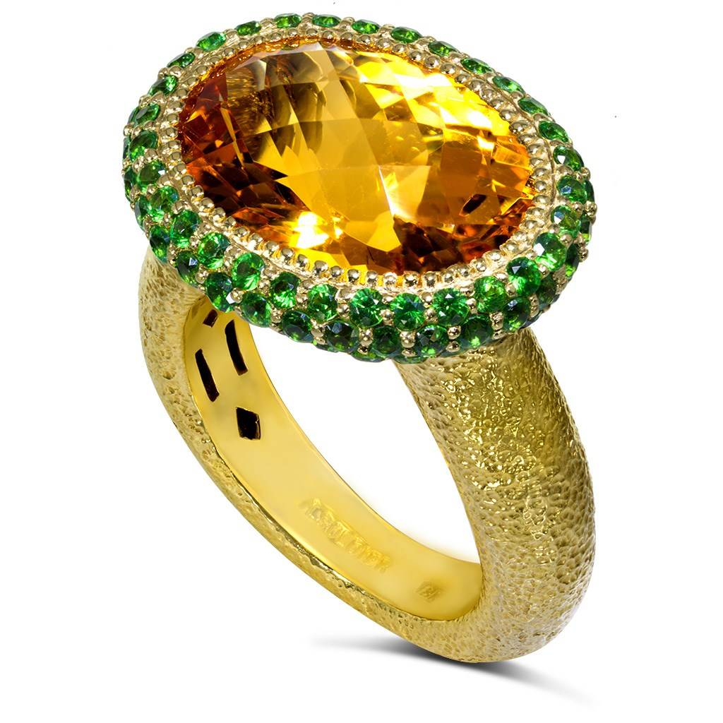Gold Cocktail Ring with Citrine & Tsavorites