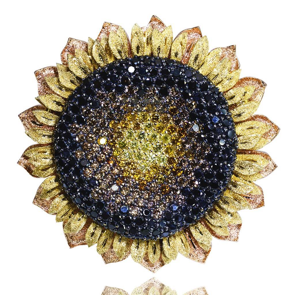 Gold Sunflower Brooch with Color Diamonds