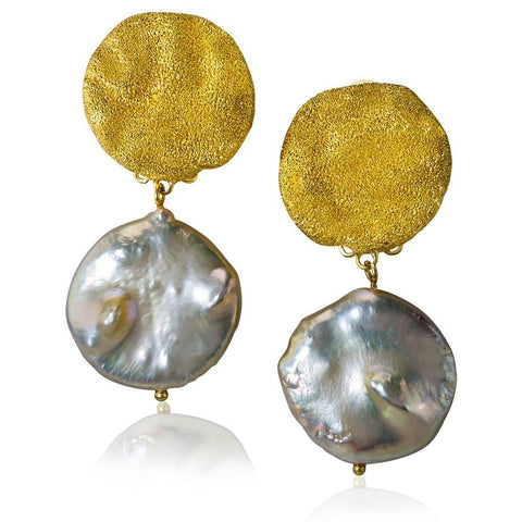 Pearl, Sterling Silver and Gold Moneta Earrings
