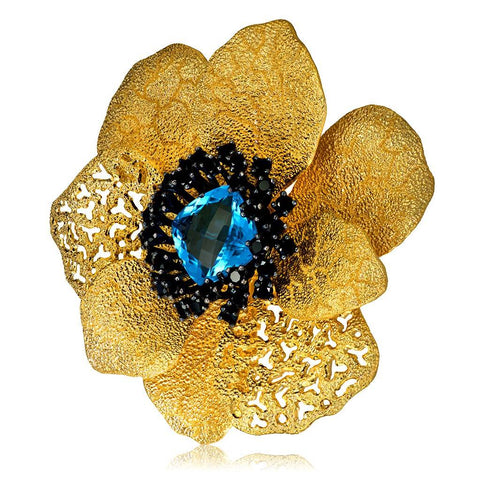 BLUE TOPAZ AND BLACK SPINEL CORONARIA BROOCH PENDANT IN SILVER AND GOLD