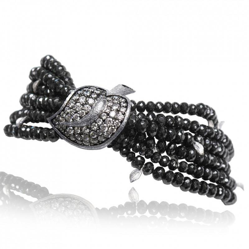 WHITE GOLD LEAF BRACELET WITH WHITE DIAMONDS AND BLACK SPINEL