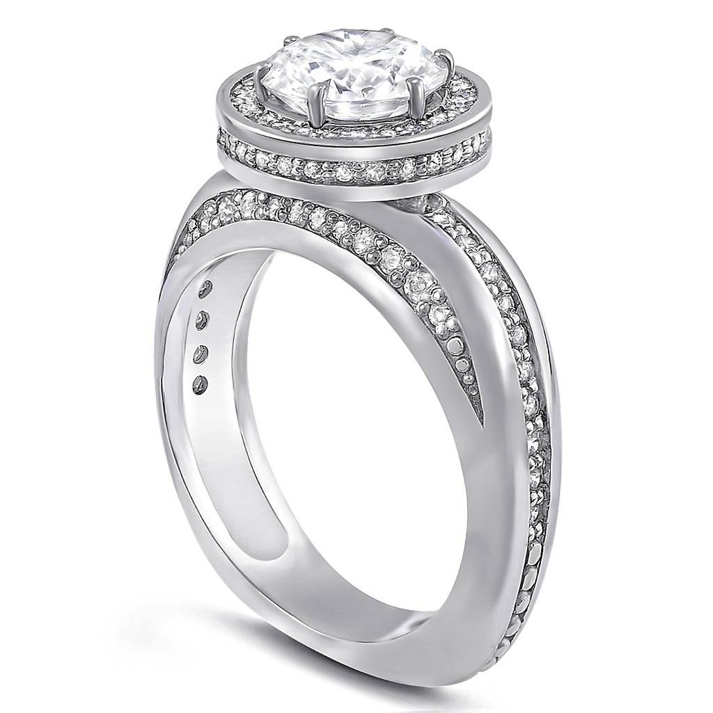 Modern Sensuality Diamond Halo Hope Engagement Ring