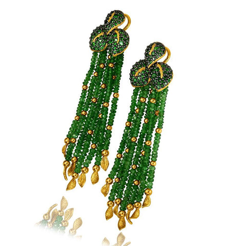 GOLD LEAF DROP EARRINGS WITH CHROME DIOPSIDE AND TSAVORITES