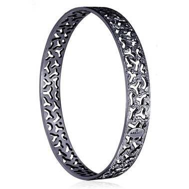 Sterling Silver And Dark Platinum Bangle Bracelet