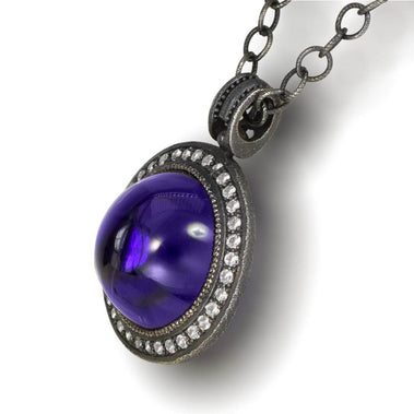 Japanese Amethyst And White Topaz Symbolica Pendant Necklace In Oxidized Silver