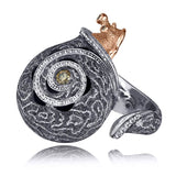 CODI THE SNAIL WITH DIAMONDS IN GOLD AND BLACKENED SILVER AND CORA PATTERN