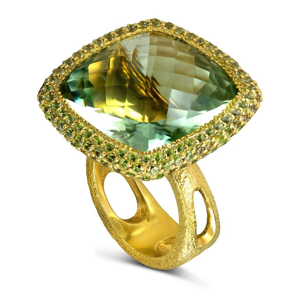Gold Royal Ring with Green Amethyst & Peridot