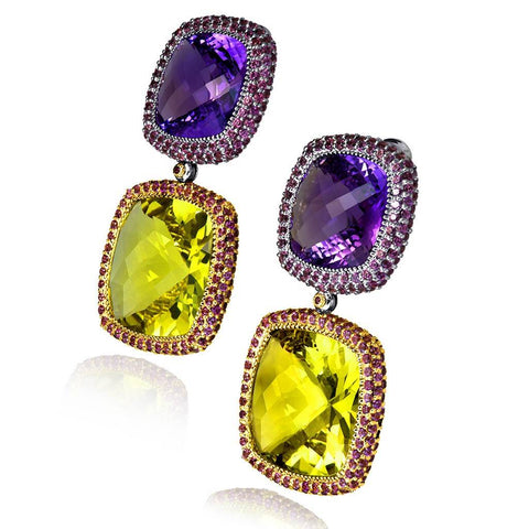 AMETHYST, LEMON CITRINE AND RHODOLITE GARNET ROYAL DROP EARRINGS IN WHITE GOLD