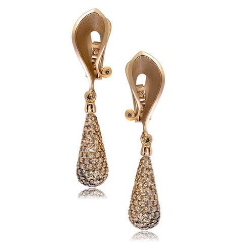 CHAMPAGNE DIAMONDS AND ROSE GOLD CALLA DROP DANGLE EARRINGS