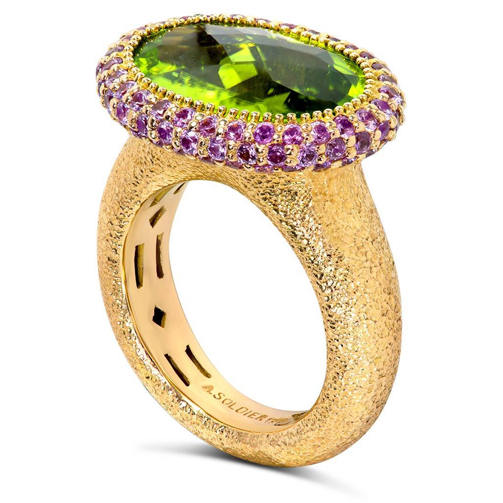 Gold Cocktail Ring with Peridot & Pink Sapphire