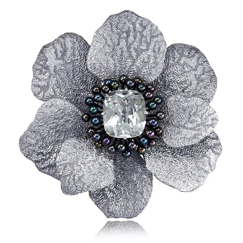 WHITE TOPAZ AND PEARL CORONARIA BROOCH PENDANT IN SILVER AND PLATINUM