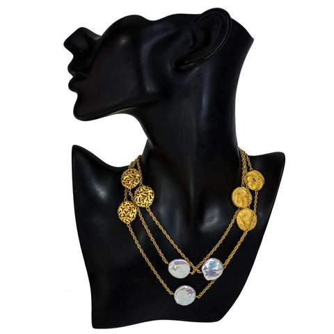 Pearl, Sterling Silver and Gold Moneta Necklace