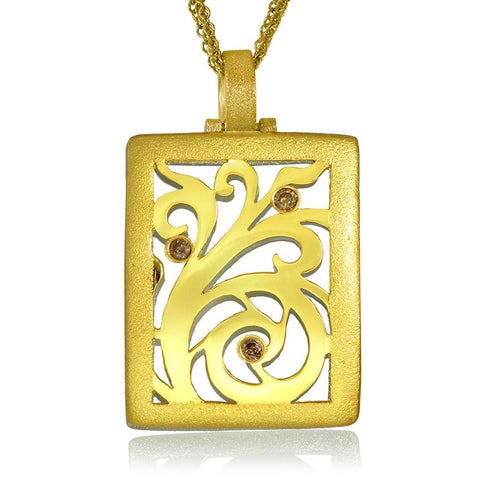 GOLD AND CHAMPAGNE DIAMONDS ORNAMENT PENDANT WITH CONTRAST TEXTURE