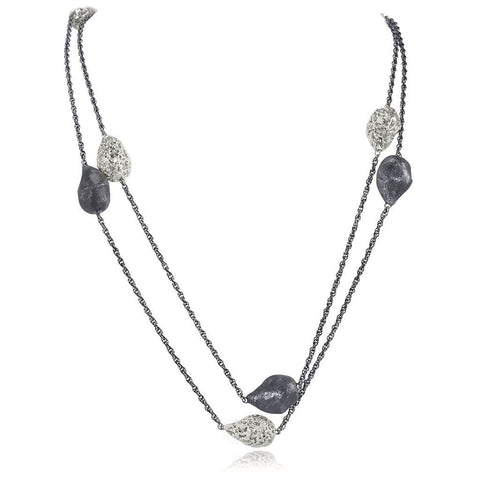 Sterling Silver and Platinum Meteorite Necklace