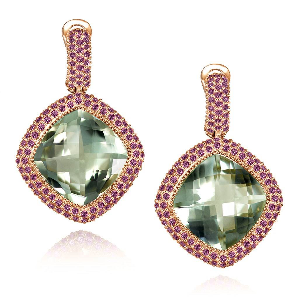 Rose Gold Royal Earrings with Green Amethyst & Garnet