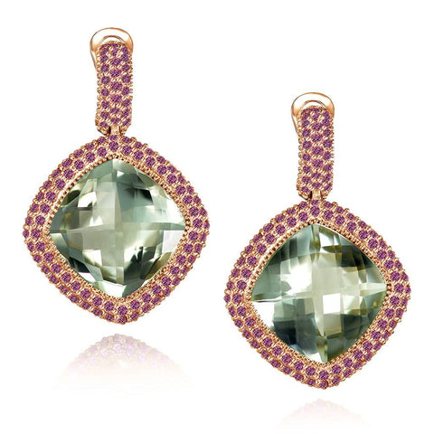 GREEN AMETHYST AND GARNET ROYAL DROP EARRINGS IN ROSE GOLD