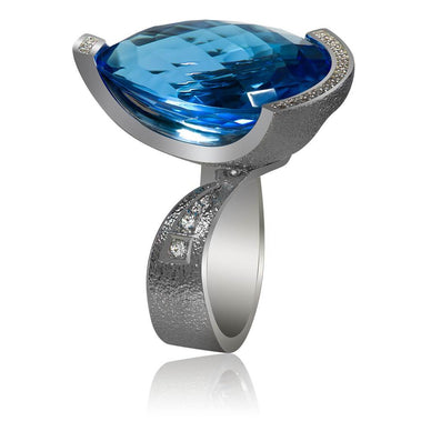 Blue Topaz And Diamond White Gold Swan Ring