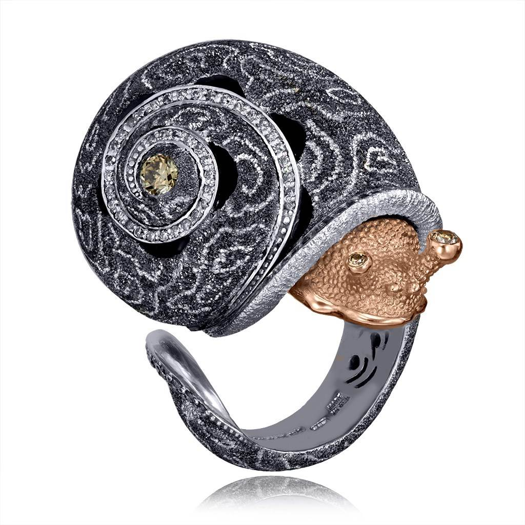 Silver & Gold Codi The Snail Cora Ring with Diamonds