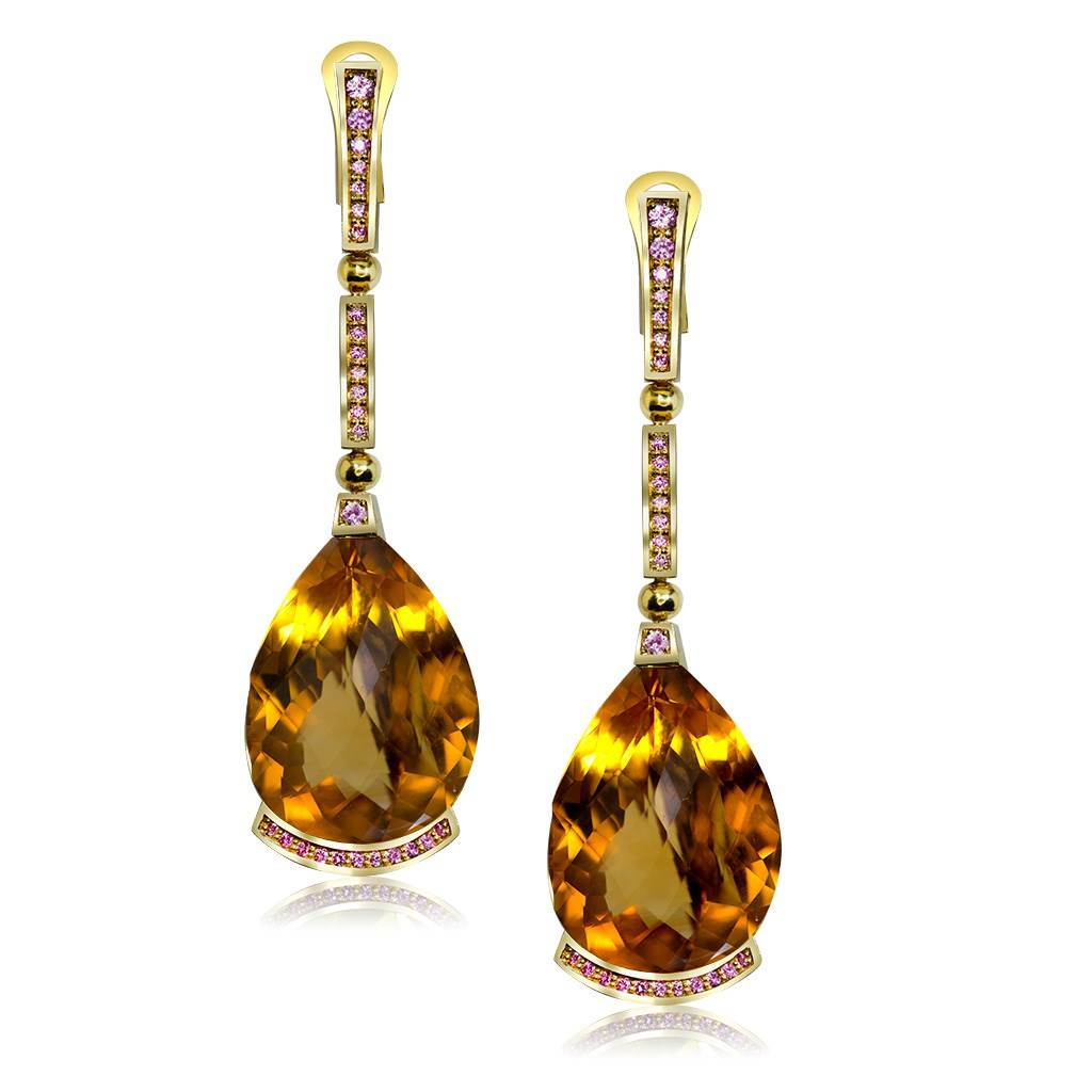 Gold Swan Drop Earrings with Honey Citrine & Sapphires