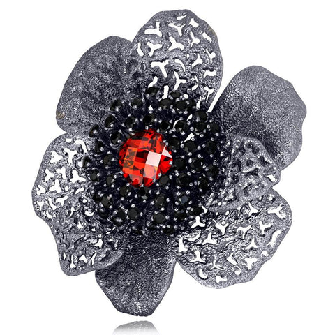 SWAROVSKI RED CRYSTAL AND BLACK SPINEL CORONARIA BROOCH PENDANT IN DARK SILVER