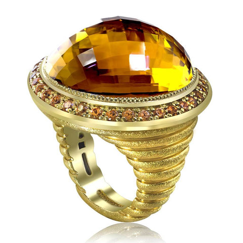 HONEY CITRINE AND SPESSARTITE GARNETS GOLD SYMBOLICA RING