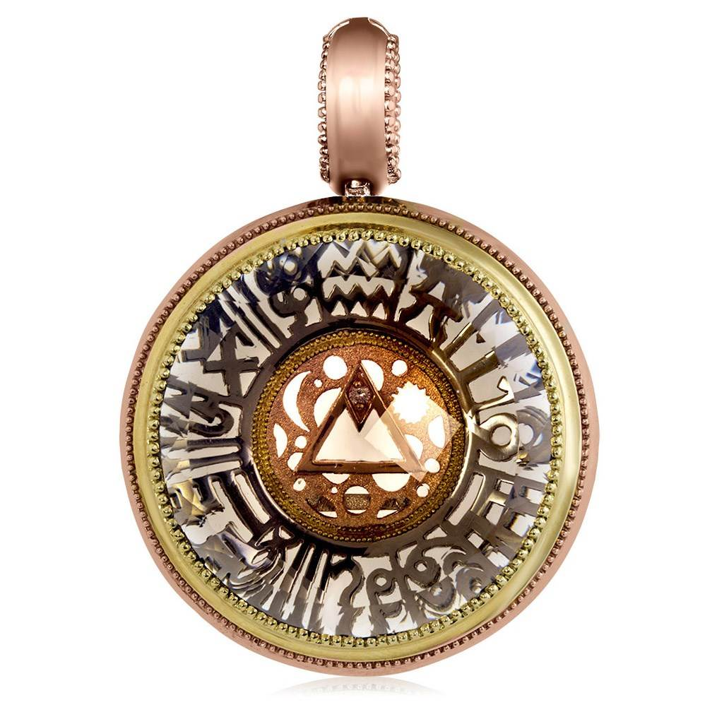 Gold Talisman Pendant/Necklace with Smoky Topaz