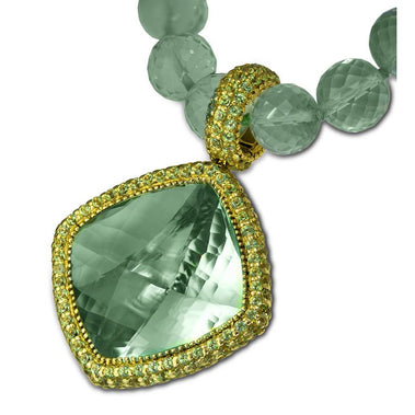 Green Amethyst and Peridot Royal Necklace Pendant In Yellow Gold