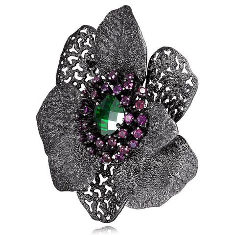 SWAROVSKI GREEN CRYSTAL AND RHODOLITE GARNET CORONARIA BROOCH PENDANT IN DARK SILVER