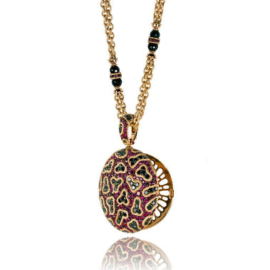 Ruby And Diamond Rose Gold Fine Lace Pendant Locket