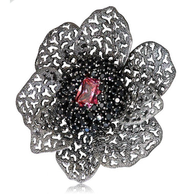 Sterling Silver Coronaria Brooch/ Pendant with Swarovski Pink Crystal